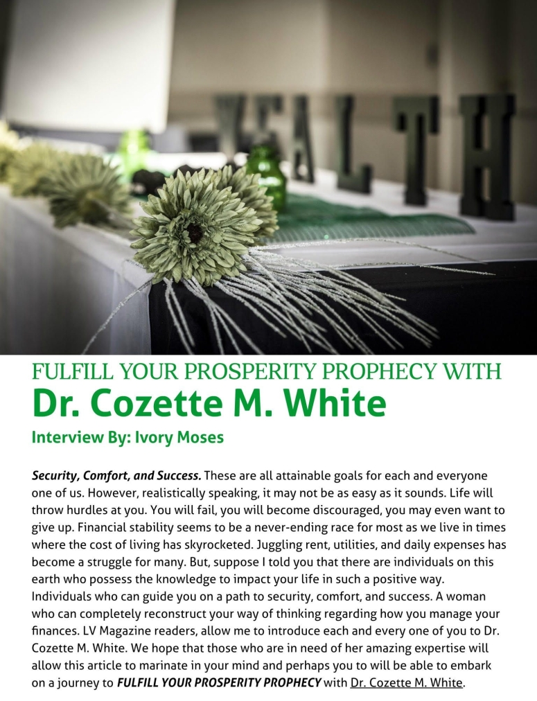 Fulfill your prosperity Prophecy with Dr. Cozette M. White